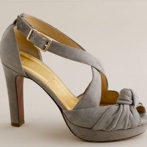 J crew love me knot suede platform heels.